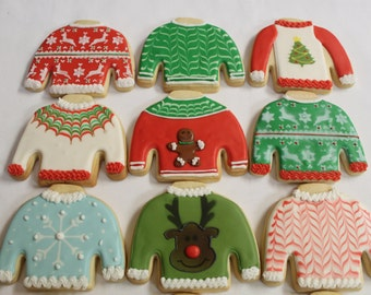 UGLY SWEATER cookies Christmas Holiday Decorated Sugar cookie favors 1 Dozen (12)