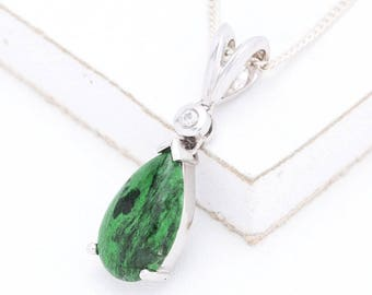 Agnes Maw Sit Sit & Diamond Pendant in 14K White Gold, Natural Ethical Gemstone Unusual Jewelry SKU: 639