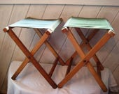 Pair of green canvas camp stools, wood and fabric stools, cabin decor, country decor, mid century, folding stools