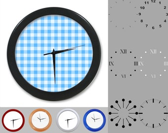Blue Plaid Wall Clock, Simple Plaid Design, Artistic Square, Customizable Clock, Round Wall Clock, Your Choice Clock Face or Clock Dial