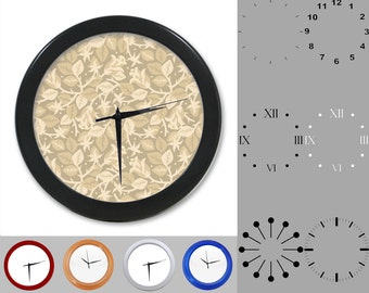 Natural Thorny Rose Wall Clock, Abstract Floral Design, Earthy, Customizable Clock, Round Wall Clock, Your Choice Clock Face or Clock Dial
