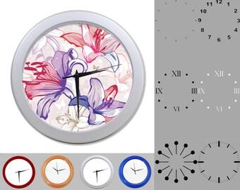 Hibiscus Wall Clock, Classic Design, Vibrant Floral, Customizable Clock, Round Wall Clock, Your Choice Clock Face or Clock Dial