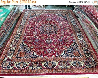SPRING SALE Persian Rug - 1980s Hand-Knotted, Room-Sized Mashad Rug (1301)