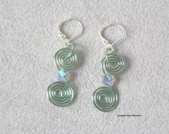 Seafoam green spiral dangle earrings, Swarovski bead, green, handmade, gift under 20, GBT226
