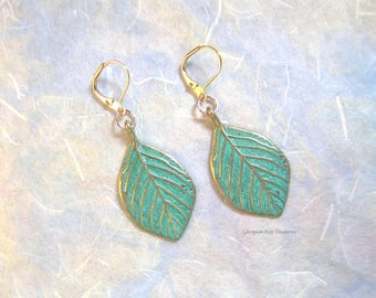 Gorgeous Leaf Earrings, green and gold patina, green, dangle earrings, gift under 20, GBT316