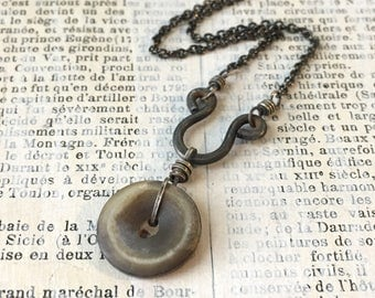 Vintage Button Necklace | TC Artifact Steel Antique Shell Button
