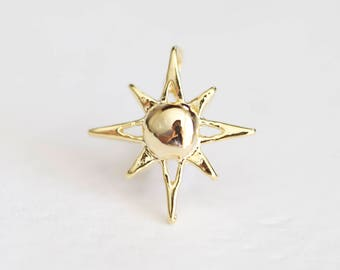 Shiny Vermeil Gold North Star Polaris Charm - twinkle wish star, 18k gold plated over sterling silver, side drilled, astronomy, pole star