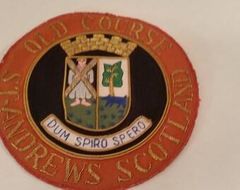 "Vintage Old Course Saint Andrews Scotland Golf Club Patch for Blazer Handmade in England Latin Motto 'Dum Spiro Spero' Golf Blazer 6"" Dia"