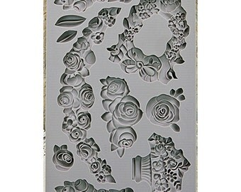 Prima - Iron Orchid Designs - Vintage Art Decor Mould - 5inX8in - Fleur