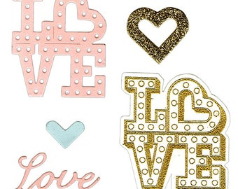 Sizzix - Framelits Die Set 4 Pack with Stamps - Love in Lights by Lindsey Serata