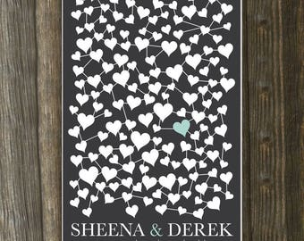Personalized Wedding Guest Book Art Print // Wedding Guestbook Signature Poster // Guestbook Alternative Print // 150 guests // 24x36