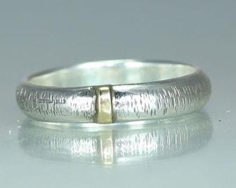 A Gold Silver Wedding Band Organic Wedding Band  Rustic Wedding Band  Mens Wedding Ring Gold Silver Engagement Ring