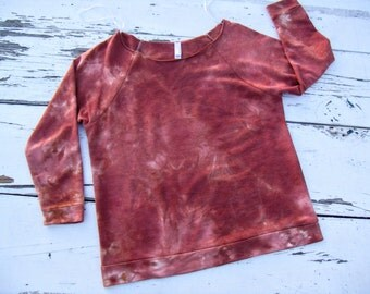 Off Shoulder Long Sleeve Lightweight Sweatshirt // Hand Dyed // Rust Brown