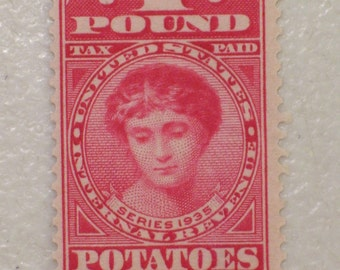 US 1935 Internal Revenue Stamp, 1 Pound Potatoes, Scott # RI1, 3/4 Cent, MNH