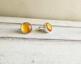 Silver yellow cufflinks, solid sterling silver cufflinks with handblown glass bead in apricot yellow, modern silver cufflinks, mens gift
