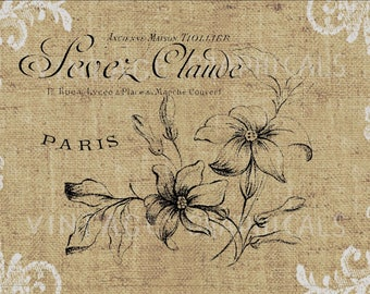 French flowers Instant graphic digital download Image for iron on fabric transfer burlap decoupage scrapbook pillow card totes No gt440