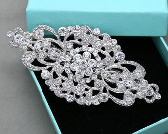 Wedding brooch making, Rhinestone brooch adornment, Sew on Buckle, Hair accessories craft, Wedding headpiece DIY - Loop back, No Pin