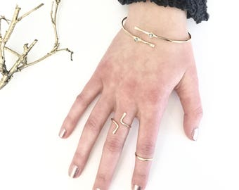 Reversible Bypass Midi Ring / Sterling Silver Wrap Ring / 14k Gold Filled Knuckle Ring / Rose Gold Pinkie Ring / Adjustable Double Band Ring