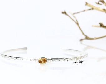 Genuine Citrine Cuff Bracelet / 14K Gold Citrine Jewelry / November Birthstone / Golden Citrine Cuff / Gift for Mom / Push Gift