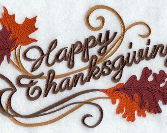 Happy Thanksgiving with Autumn Leaves Embroidered on Made-to-Order Pillow Cover