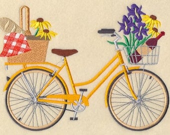June - Picnic in the Park Bicycle Embroidered on Made-to-Order Pillow Cover