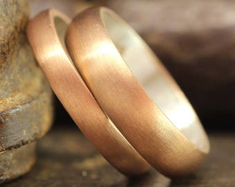 His and Hers Matching Wedding Ring Set Satin Finish Matte Half Round Domed 18K Rose Gold Vermeil 925 Sterling Silver Bands - FREE Engraving