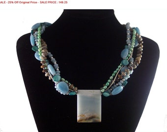 SALE - 25% Off Original Price Amazonite, Green Opal, Pearl, MOP and Seed Bead Necklace