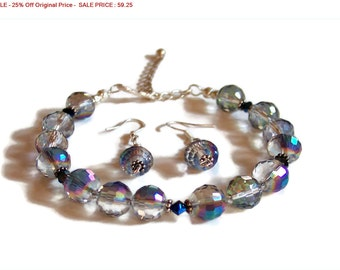 SALE - 25% Off Original Price Sterling Silver Swarovski  Multicolor Faceted CRYSTAL BRACELET and Matching Earrings
