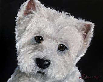 "PRINT Westie West Highland Terrier Dog Puppy Art ""Good Listener"" / Mary Sparrow Smith"