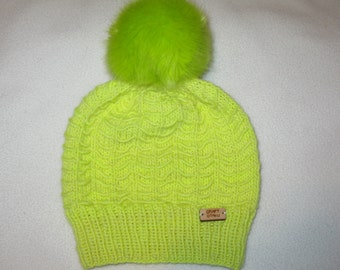 Knit Wool Beanie - Neon Yellow Textured and Slouchy - small child