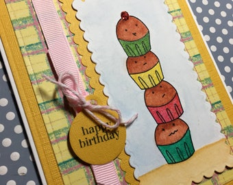 Tower of Cupcakes Birthday Card