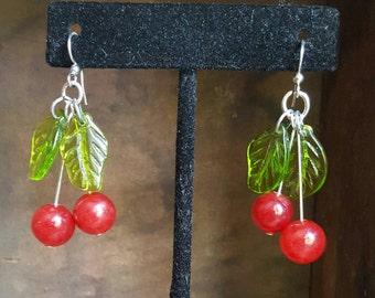 Red Jade Vintage Style Cherry Earrings