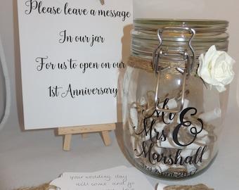 Rustic Wedding Message in a Bottle Jar Guest Book kit alternative Personalised