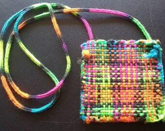 Hand woven neck pouch purse bag bright multi colored
