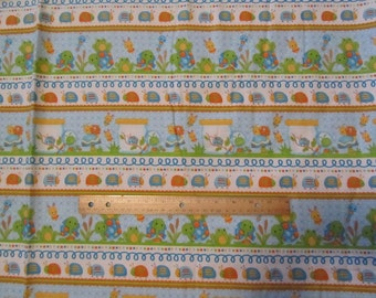 Blue Doodle Bug Turtle/Frog  Flannel Fabric  by the Yard