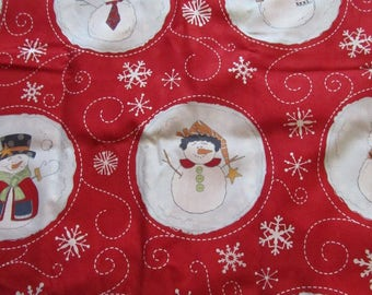 Red Snowman Circle/Snowflake Fabric by the Yard
