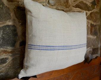 Authentic Vintage Grain Sack Blue Striped Pillow