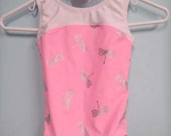 New Gymnastic Leotard - Pink with Silver Dragon Flies