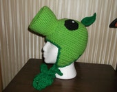 Plants Vs Zombies inspired Peashooter crochet earflap hat
