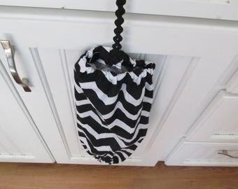 Black Chevron Bag Holder