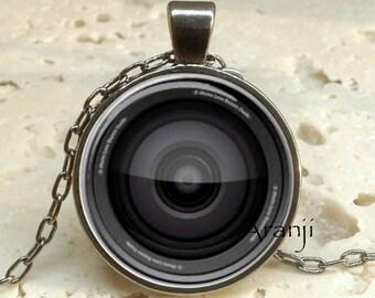 Camera lens art pendant, camera necklace, camera jewelry, photographer necklace, photography pendant, camera lens, Pendant #HG108GM