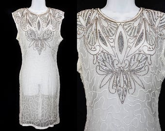 Vintage 80's White Beaded & Faux Pearl Sheer Dress S