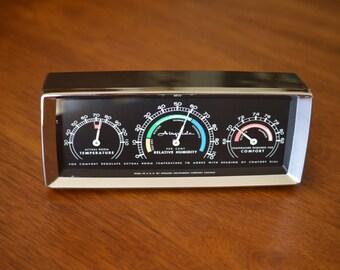 Airguide Desk Barometer Mid Century Modern Humidity & Temperature Chrome Trim Very Nice