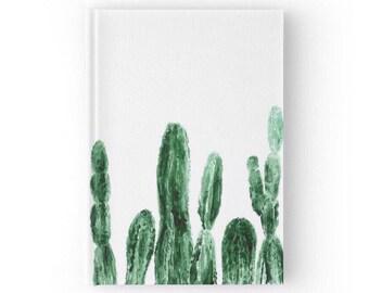 Cactus Journal, hardcover journal, cactus notebook, white journal, plant notebook, plant journal, modern journal, minimal journal