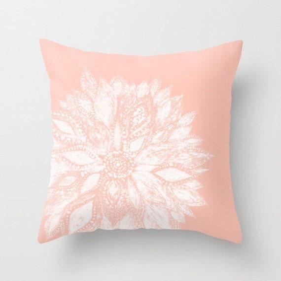 light pink flower throw pillow pink floral pillow blush pink. Black Bedroom Furniture Sets. Home Design Ideas
