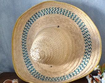 mexican straw hat-original sombrero- guinean Mexican vintage
