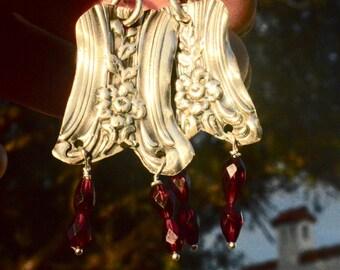 Antique Repoussé Victorian Sterling Silver Earrings 925 Rare Art Nouveau Floral .925 Natural Garnet Gemstone Drop Dangle Eco Friendly OOAK