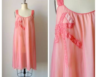 1960s Hot Pink Babydoll Nightgown with Bow Applique   Vintage 60s Sleeveless Chiffon Nightdress   Women's Lingerie Pajamas  