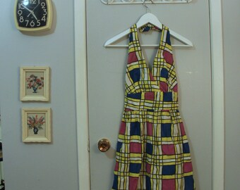1960s mod print halter dress