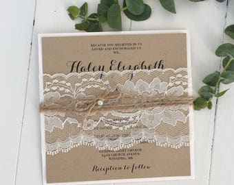 Rustic Wedding Invitation, Lace Wedding Invitation, Vintage Wedding Invitation, Shabby Chic, Kraft Invitation, Eco Kraft, Sample  Invitation